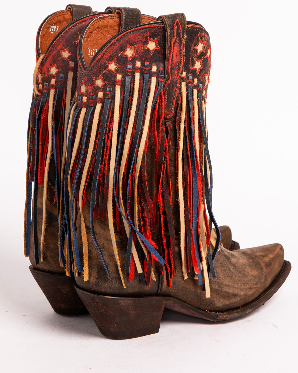 Dan Post Brown Liberty Fringe Cowgirl Boots - Snip Toe , Brown, hi-res