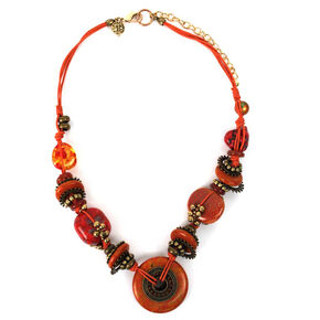 Treska Women's Saffron Sunset Chunky Beads on Cord Necklace , Red, hi-res