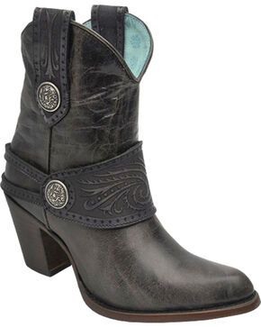 Corral Women's Buckle and Harness Ankle Boots - Medium Toe , Black, hi-res