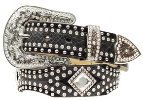 Nocona Diamond Concho Studded Suede & Smooth Leather Belt, Black, hi-res