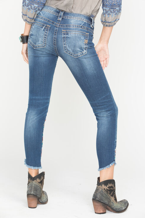 Miss Me Women's Indigo Frayed Embroidered Jeans - Ankle Skinny, Indigo, hi-res