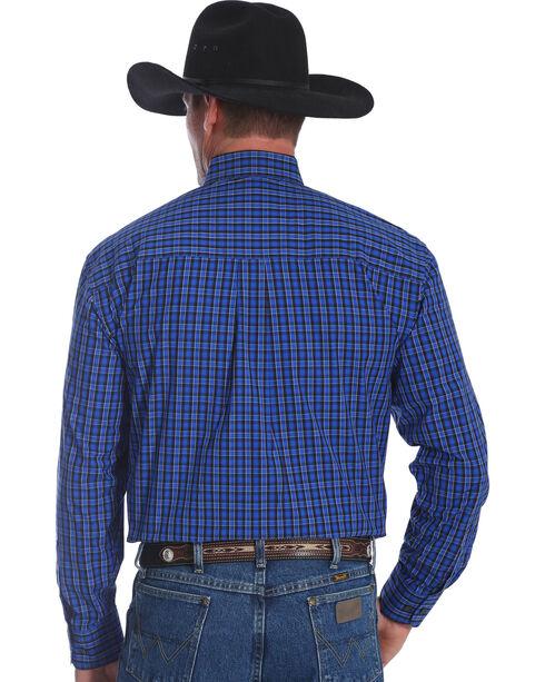 Wrangler Men's Blue George Strait Checkered Print Shirt , Blue, hi-res