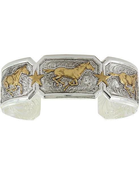 Montana Silversmiths Women's Heirloom Running Horse Cuff Bracelet , Gold, hi-res