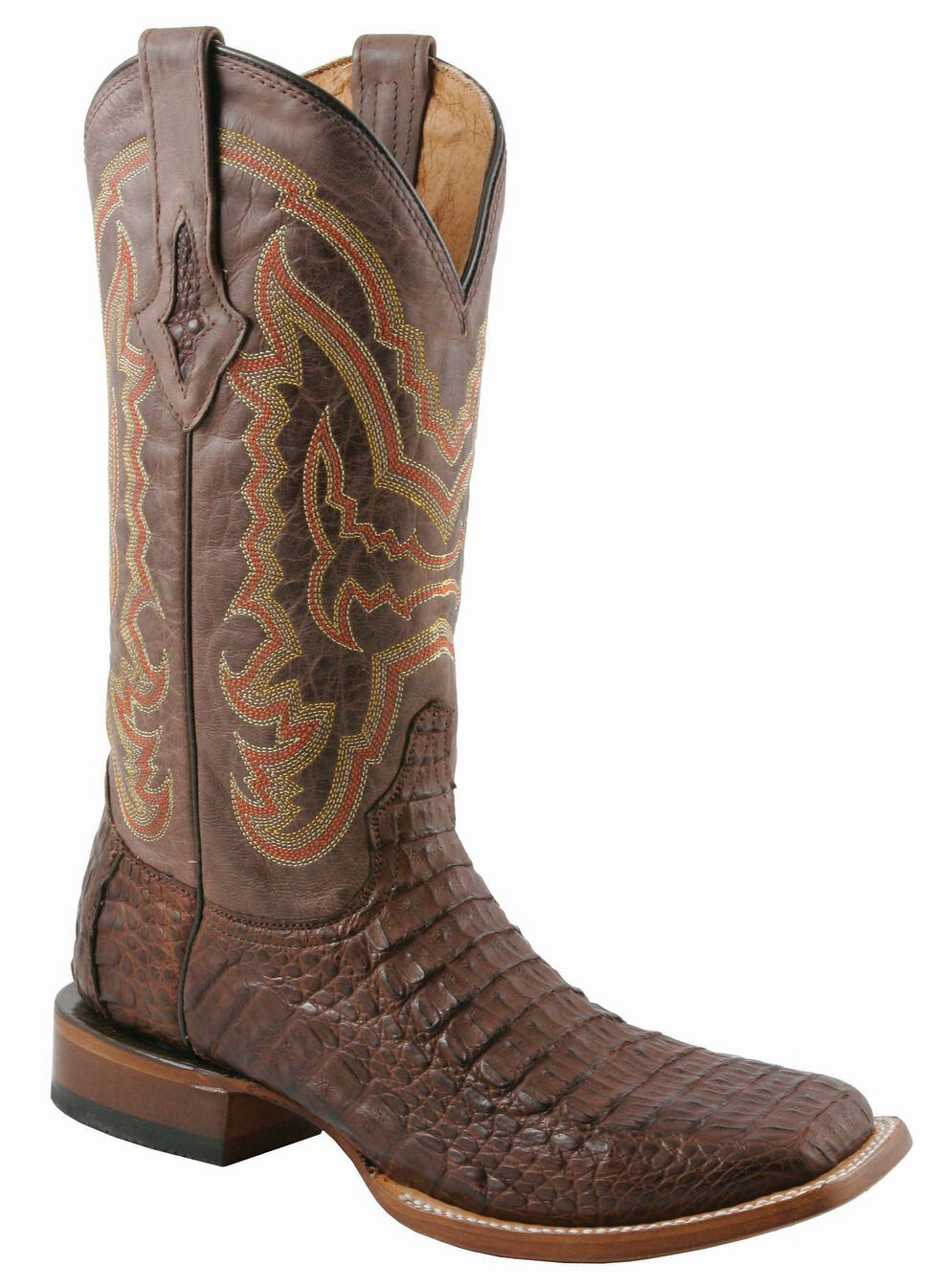 Lucchese Handcrafted 1883 Hornback Caiman Cowboy Boots - Square Toe, Cigar, hi-res