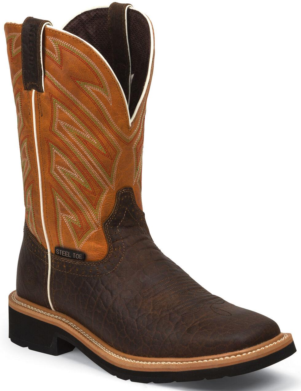 Justin Men's Stampede Electrician EH Work Boots - Steel Toe, Chestnut, hi-res