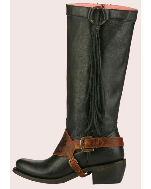 Junk Gypsy by Lane Women's Black Southbound Fringe Boots - Round Toe , Black, hi-res