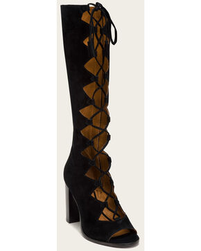 Frye Women's Gabby Ghillie Tall Gladiator Heels, Black, hi-res