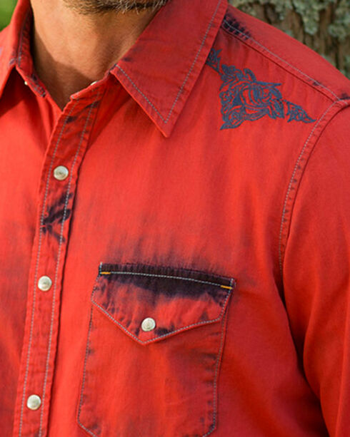 Ryan Michael Men's Red Embroidered Tinted Indigo Shirt, Red, hi-res