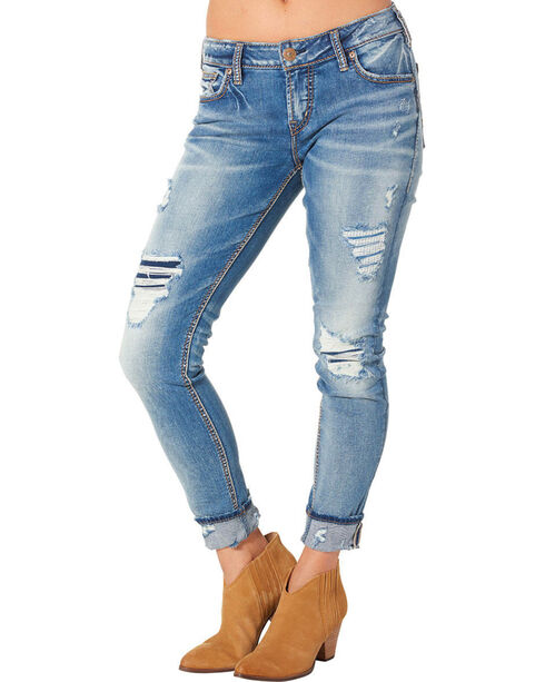 Silver Women's Girlfriend Mid Ankle Skinny Jeans  , Blue, hi-res