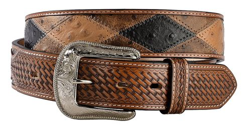 3D Ostrich Print Patchwork Leather Belt, Multi, hi-res