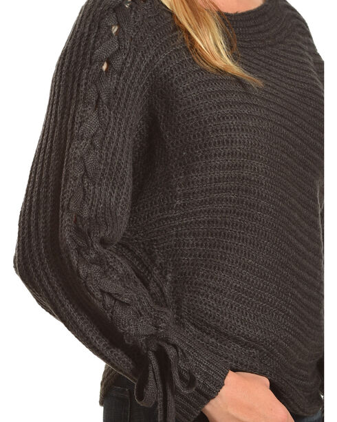 HYFVE Women's Charcoal Braided Sleeves Sweater, Charcoal, hi-res