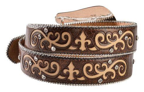 Nocona Rhinestone Embellished & Studded Belt, Brown, hi-res