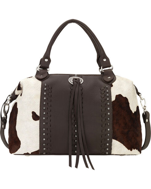 American West Cowhide Cow Town Large Convertible Zip Top Satchel , Chocolate, hi-res