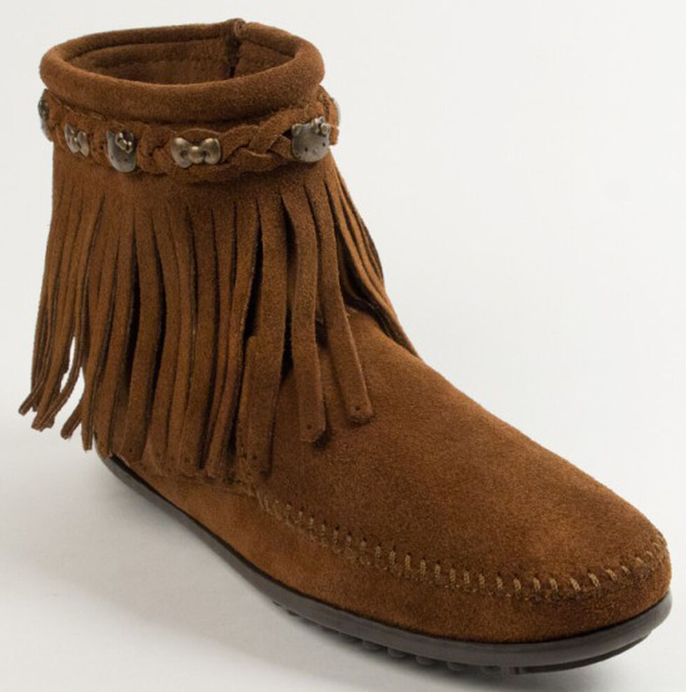 Minnetonka Women's Hello Kitty 40th Anniversary Fringe Boots, Dusty Brn, hi-res