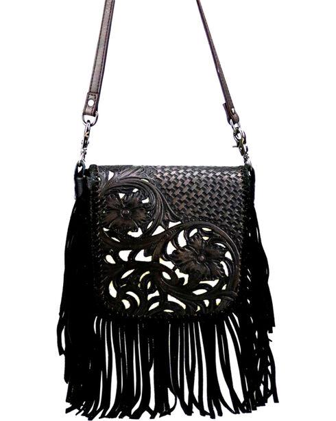 Montana West Women's Genuine Leather Tooled with Fringe Crossbody Bag, , hi-res