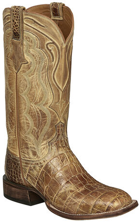 Lucchese Tan Giant Gator Vince Cowboy Boots - Square Toe , Tan, hi-res