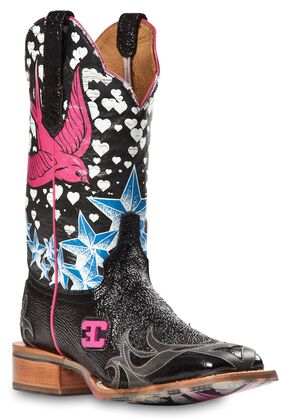 Cinch Edge Stella Cowgirl Boots - Square Toe, Black, hi-res