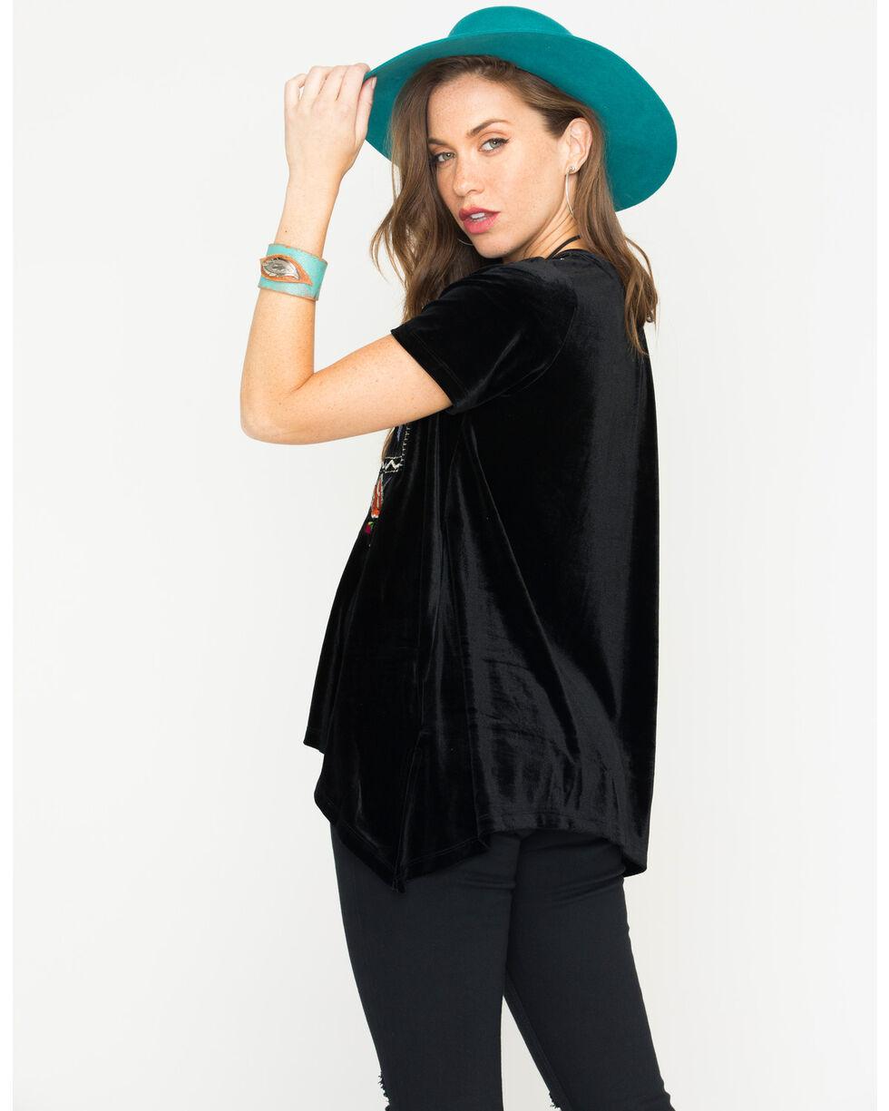 Miss Me Women's Embroidered Asymmetrical Hem Tee , Black, hi-res