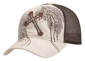 Cross & Wing Embroidered Mesh Cap, Tan, hi-res
