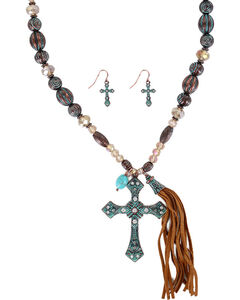 Shyanne Women's Antiqued Cross Jewelry Set, Turquoise, hi-res