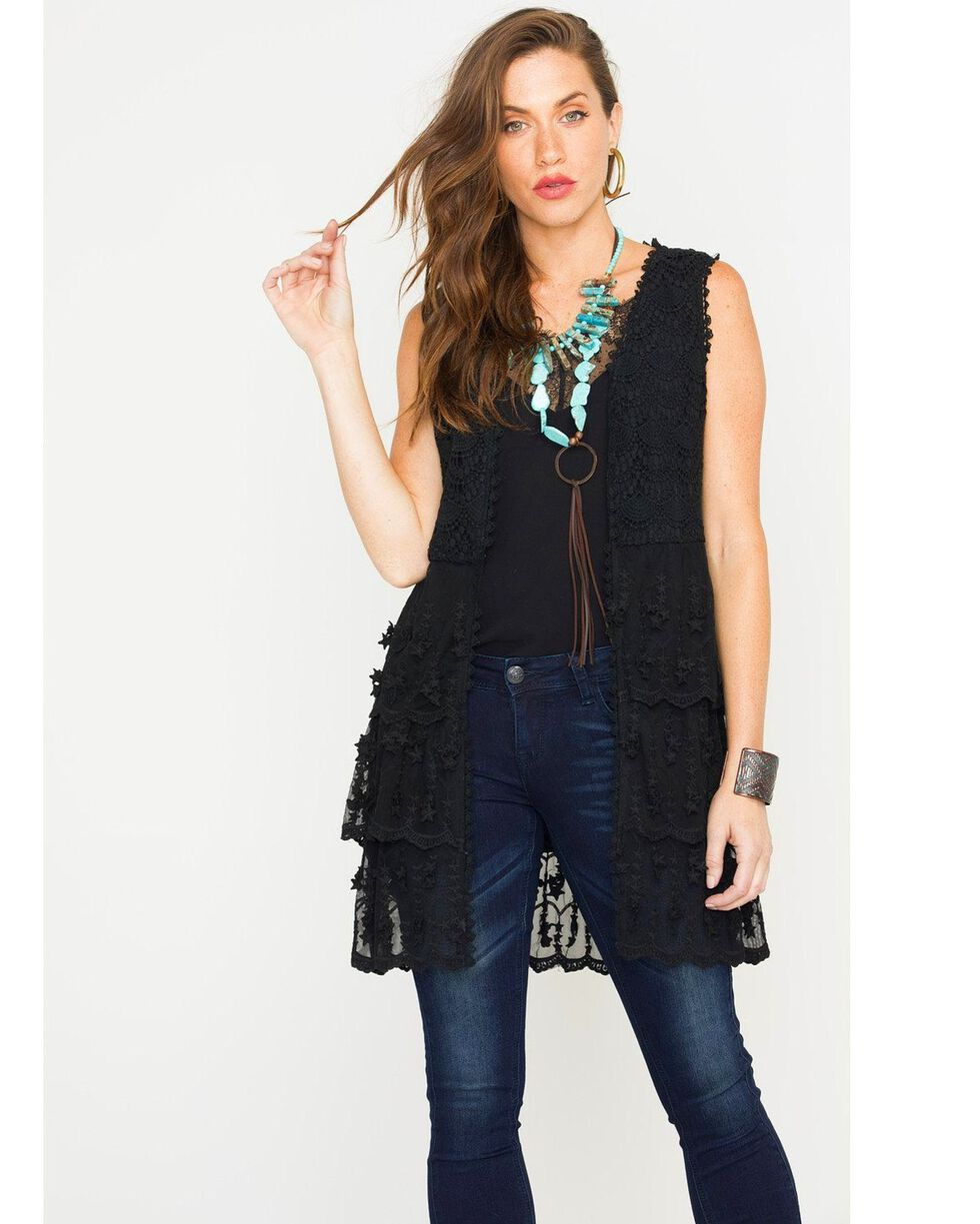 Young Essence Women's Sleeveless Lace Cardigan, Black, hi-res