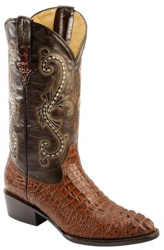Ferrini Caiman Croc Print Cowboy Boots - Round Toe, Rust, hi-res