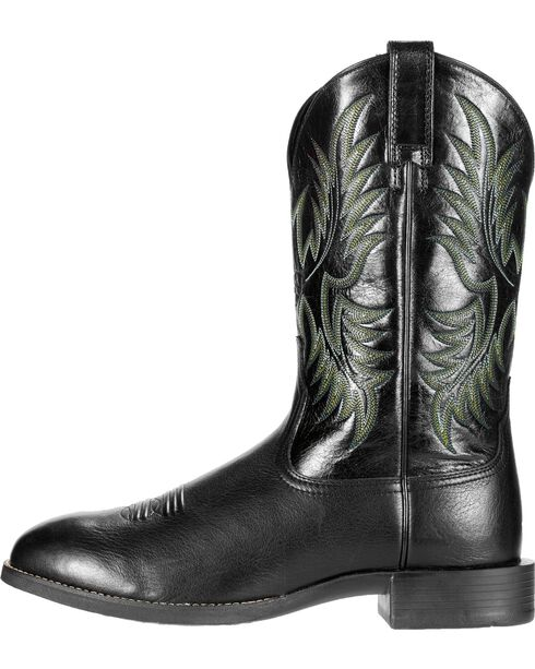 Ariat Men's Stockman Cowboy Boots - Round Toe, Black, hi-res