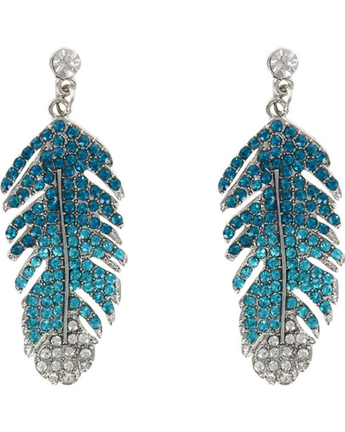 Shyanne Women's Rhinestone Feather Earrings, Turquoise, hi-res