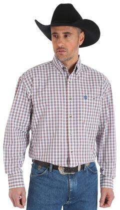 Wrangler George Strait Men's Chestnut/White Poplin Plaid Button Shirt - Big & Tall, Tan, hi-res
