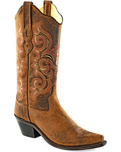 Old West Women's Distressed Brown Western Boots - Snip Toe  , Brown, hi-res