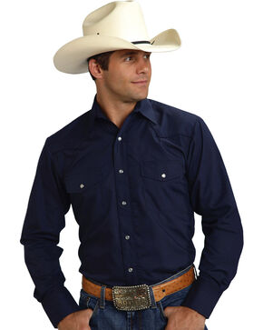 Roper Men's Solid Navy Embroidered Western Shirt, Navy, hi-res