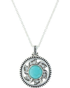 Montana Silversmiths Women's Tumbling Flower Medallion Necklace , Silver, hi-res