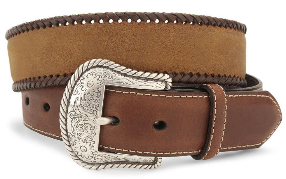 Nocona Concho Braided Edge Leather Belt - Reg & Big, Brown, hi-res