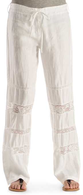 Johnny Was Women's Crochet Insert Linen Pants, White, hi-res
