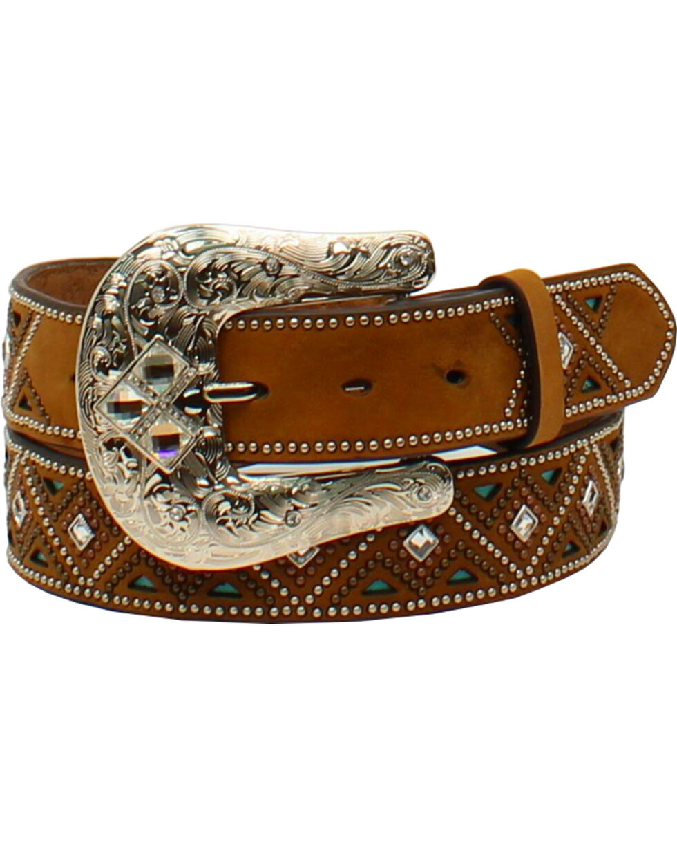 Nocona Women's Rounded Southwestern Buckle Belt , Medium Brown, hi-res