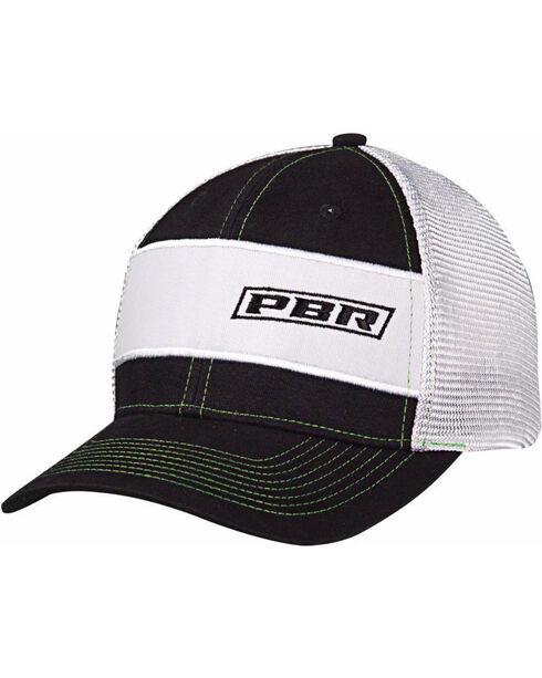 PBR Men's Black and White Text Logo Baseball Cap, Black, hi-res