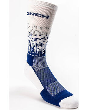 Cinch Men's Geo Pattern Performance Crew Socks, Navy, hi-res