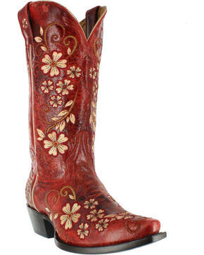 Shyanne Women's Red Floral Embroidered Cowgirl Boots - Snip Toe, Red, hi-res