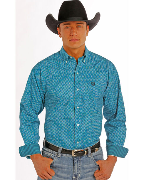 Panhandle Slim Men's Turquoise Peached Print Western Shirt , Turquoise, hi-res