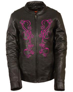 Milwaukee Leather Women's Reflective Star Jacket - 4X, Pink/black, hi-res