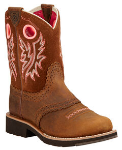 Ariat Children's Fatbaby Cowgirl Boots - Round Toe , Brown, hi-res