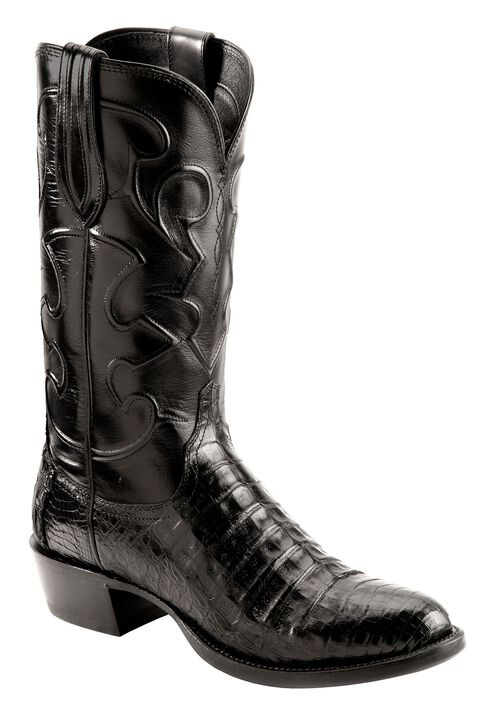 Lucchese Handcrafted 1883 Black Crocodile Belly Cowboy Boots - Round Toe, Black, hi-res