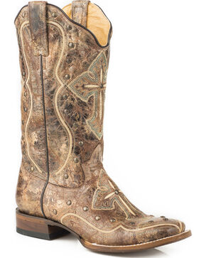 Roper Women's Pure Cross & Studs Cowgirl Boots - Square Toe, Brown, hi-res