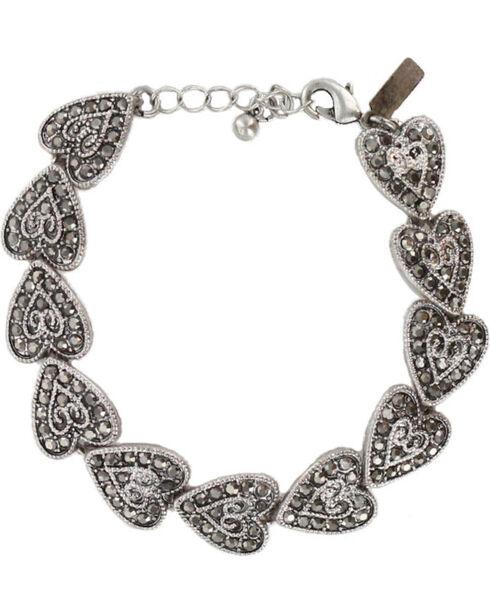 Shyanne Women's Vintage Heart Tennis Bracelet, Silver, hi-res
