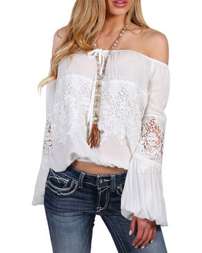 Shyanne Women's Crochet Peasant Blouse , White, hi-res