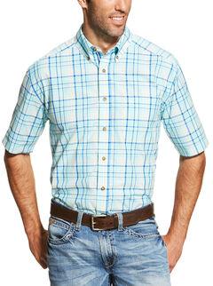 Ariat Men's Blue Ivan Short Sleeve Shirt , , hi-res