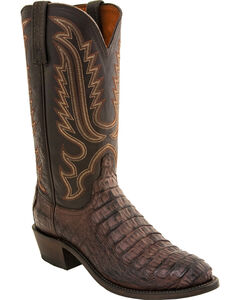 Lucchese Men's Walter Hornback Caiman Western Boots - Round Toe, Dark Brown, hi-res