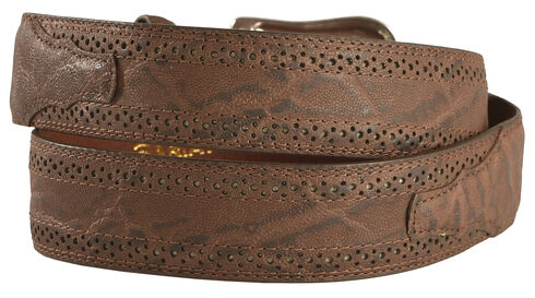 Ariat Elephant Print Leather Belt, Chocolate, hi-res