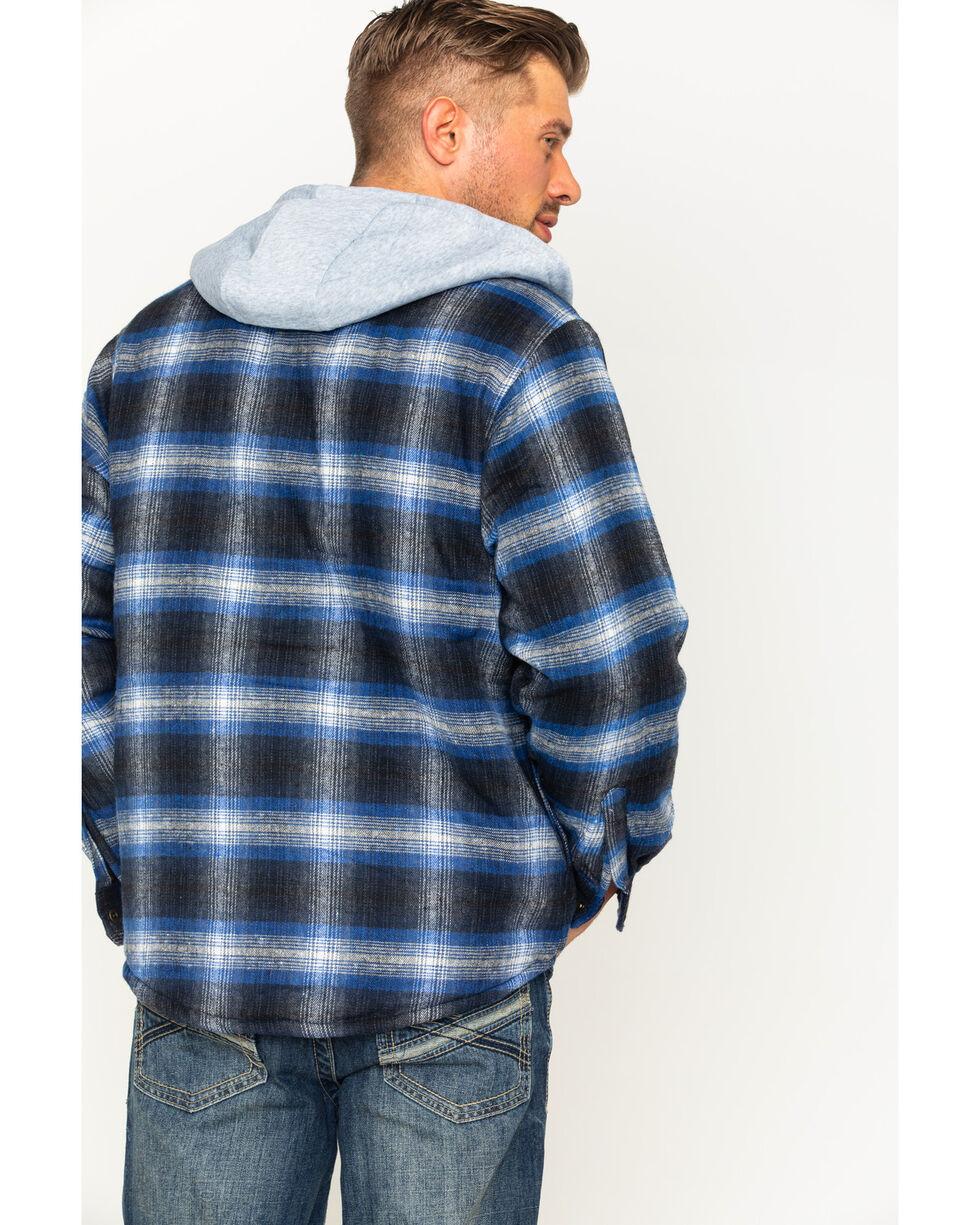 Victory Rugged Wear Men's Hooded Flannel Snap Shirt Jacket, Blue, hi-res