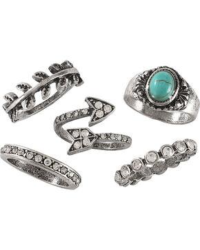 Shyanne Women's Turquoise Rhinestones Multi Ring Set, Turquoise, hi-res